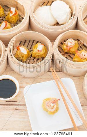 Dim Sum Shrimp in Bamboo Trays, Thailand