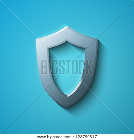 Privacy concept: flat metallic Contoured Shield icon, vector