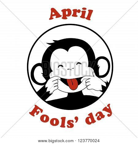 First April Fool day. Vector funny cartoon All fools day icon. April fool prank. Ape put out tongue. Black and white.