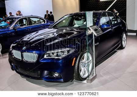 NEW YORK - March 23: A BMW 550i xDrive Sedan exhibit at the 2016 New York International Auto Show during Press day,  public show is running from March 25th through April 3, 2016 in New York, NY.