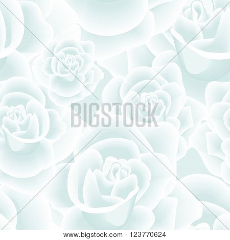 Tender Frozen Roses Seamless Background. Repeatable textile or web pattern with roses, white petals and soft blue shadows. Floral motif in blue and white. Vector file is EPS8.