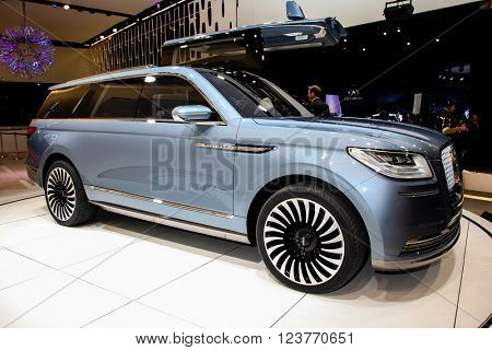 NEW YORK - March 23: A Lincoln Navigator Conceptshown  at the New York International Auto  Show exhibit at the 2016 New York International Auto Show during Press day in New York, NY.