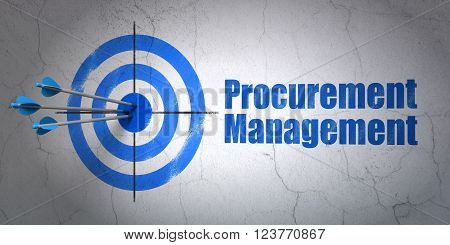 Finance concept: target and Procurement Management on wall background