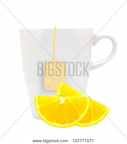 White tea cup with teabag and lemon slices. Isolated on white background