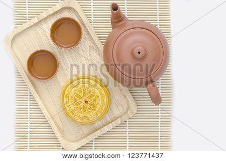 Mooncake with tea pot on white background