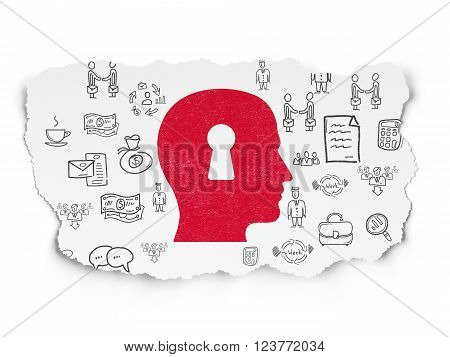 Business concept: Head With Keyhole on Torn Paper background