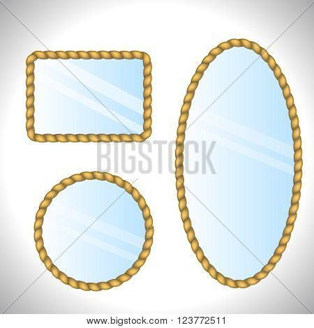 Mirrors. Isolated mirrors set on white background. Collection of retro mirrors. Rope frame