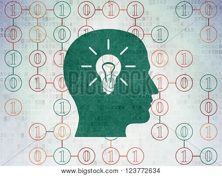 Finance concept: Head With Light Bulb on Digital Paper background