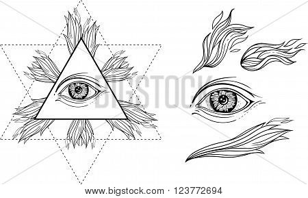 isolated images of eye, flames of fire, and occult star