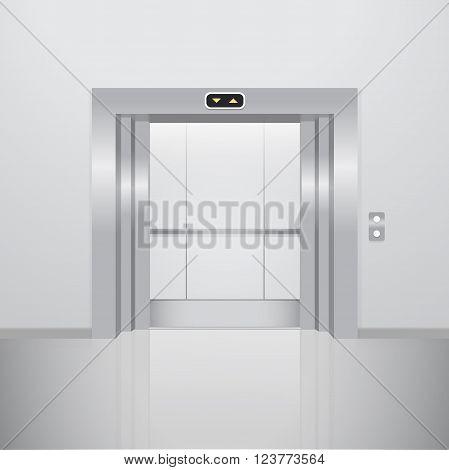 Open elevator. Realistic vector illustration. Metal lift