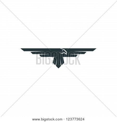 Eagle logo mockup predator bird wings silhouette aviation emblem design element