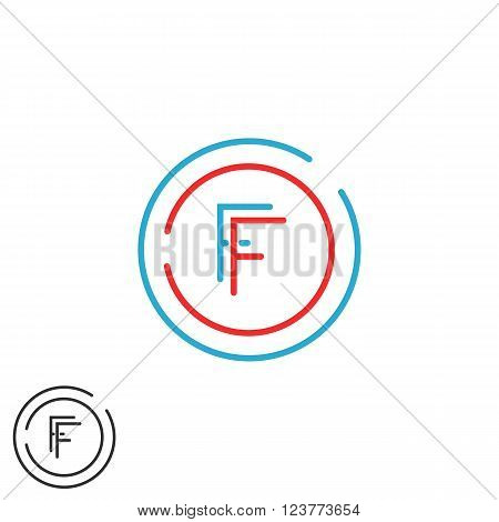 Initials Ff Letter Logo Monogram, Intersection Thin Line F, F Hipster Emblem Wedding Card, Blue And