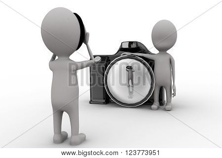 3D Man Taking Picture Using Camera And Another Man Hiding Her Face With Mask Concept