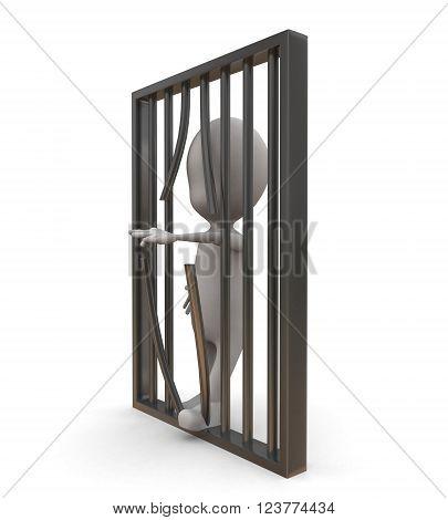 3D Man Jail / Prison Break Concept