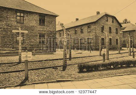 Old style photo of Auschwitz camp
