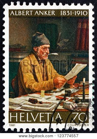 SWITZERLAND - CIRCA 1981: a stamp printed in the Switzerland shows The Parish Clerk Painting by Albert Anker circa 1981