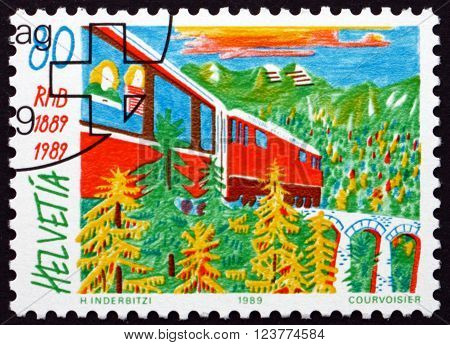 SWITZERLAND - CIRCA 1989: a stamp printed in the Switzerland shows Train and Viaduct Centenary of the Rhaetian Railway circa 1989