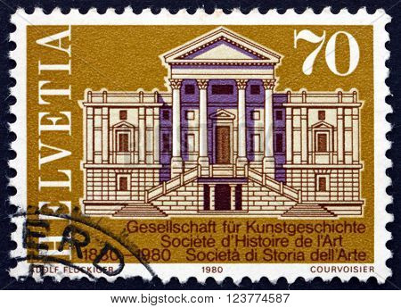 SWITZERLAND - CIRCA 1980: a stamp printed in the Switzerland shows Winterthur Town Hall Centenary of the Society for Swiss Art History circa 1980