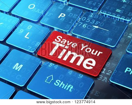 Time concept: Save Your Time on computer keyboard background