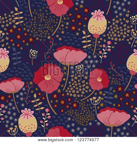Vector floral pattern in doodle style with flowers and leaves. Poppies on a dark background. Seamless pattern can be used for pattern fills, web page background, surface textures.