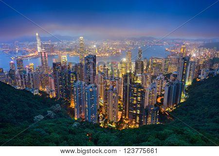 Hong Kong, China skyline from the peak.