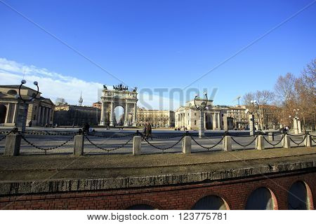 MILAN ITALY - JANUARY 24: Milan triumphal arch at Semione square built 1807 to commemorate Napoleon victories on January 24 2015