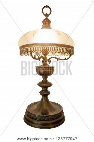 Desk lamp with a lamp shade, isolated on a white background