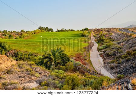 Golf Green Grass Fiel in a Tropical Climate