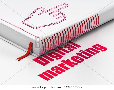 Advertising concept: book Mouse Cursor, Digital Marketing on white background