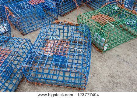Plastic Octopus and crab traps. With shiny bait.