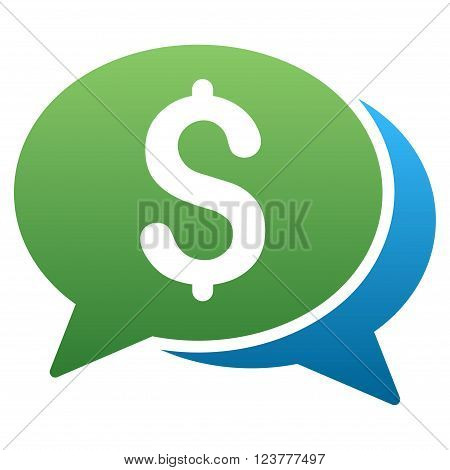 Financial Transaction Chat vector toolbar icon for software design. Style is a gradient icon symbol on a white background.