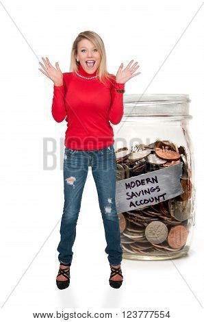 Beautiful young woman in front of her savings account