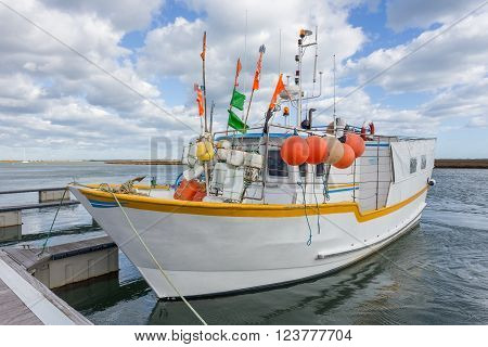 Fishing boat on octopuses in Portugal on the dock. In Tavira.