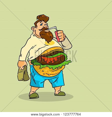 Fat Man Eat Burger Sandwich Soda Soft Drink Junk Unhealthy Fast Food Concept Big Stomach Obesity Weight Problem Flat Vector Illustration