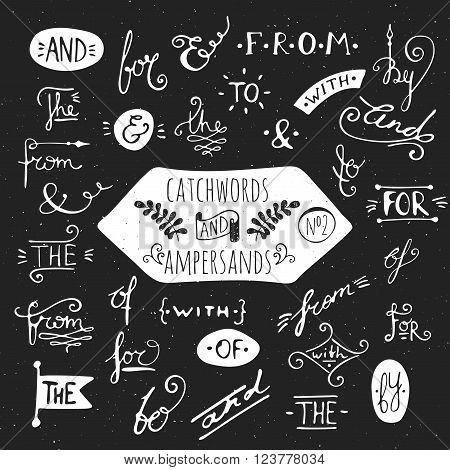 Big set number 2 of handdrawn ampersands and catchwords on black background. Design elements for banner, card, invitation, label, postcard, vignette, label, poster, emblem etc. Vector illustration.