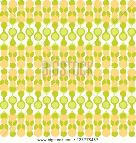 Greenish and yellow-beige stylized knitting metaball seamless pattern