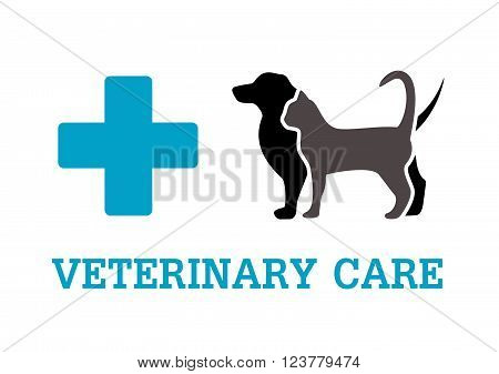 isolated animals with blue cross silhouette on vet symbol