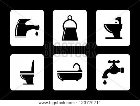 six isolated bathroom icons on black background