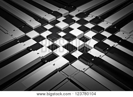 3d concept design of futuristic checkerboard. An empty board for chess in modern style.