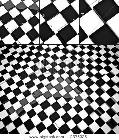 The concept design of futuristic checkerboard. An empty board for chess in modern style. 3D render.