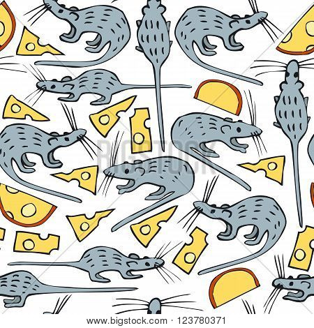 Seamless Vector Pattern with Mice and Cheese on a White Background