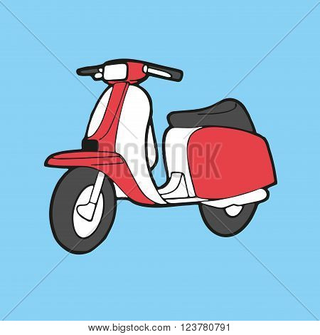 Scooter classic style retro - vector illustration