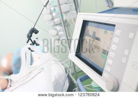 Monitoring equipment in patient's ward at hospital