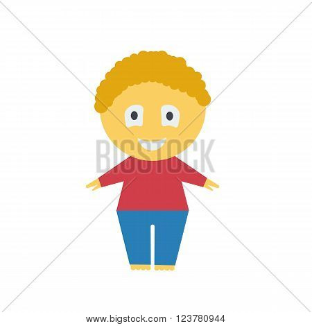 Cartoon boy. Illustration of a boy on a white background.Red-haired boy. Cheerful. Red jacket. Blue pants.