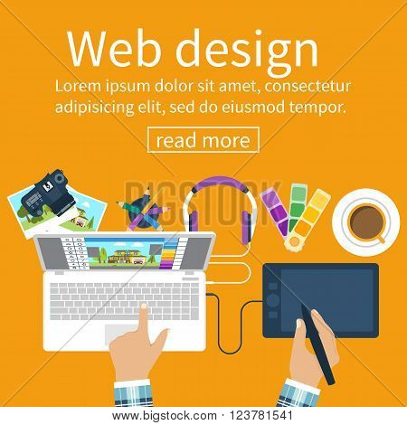 Workplace of designer. Creative worker. Designer items tools equipment. Flat design style. Vector illustration. Designer draws on tablet. Concept graphic design.