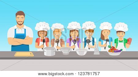 Kids cooking class flat illustration. Group of happy fun children boys and girls in chef hats and aprons with kitchen equipment cook food with an adult. Culinary education party with man teacher