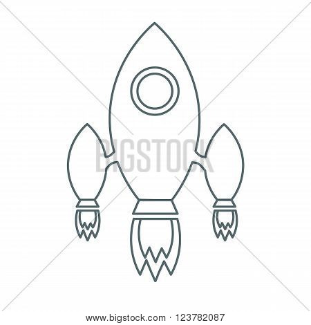 Vector illustration.Rocket launch icon. Rocket launch sign. Rocket launch symbol. Thin line icon on white background.