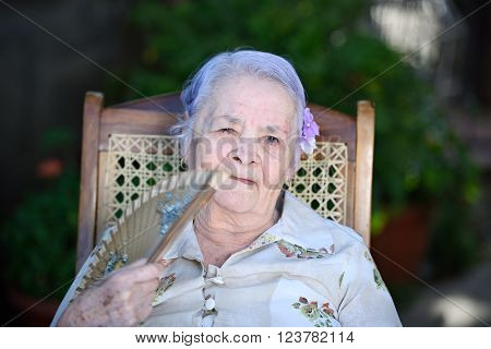 Grandma With Hand Fan