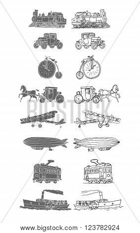 Retro transport. Old times. Airplane, locomotive, zeppelin, automobile, steamboat, bicycle, tram, diligence. Vector. Isolated on a white background. Doodles. Sketch.