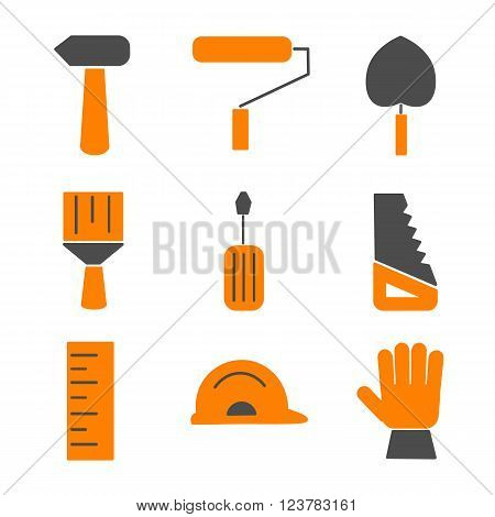 Flat house remodel. Set of house renovation icons. Tools equipment and furniture. Flat style.